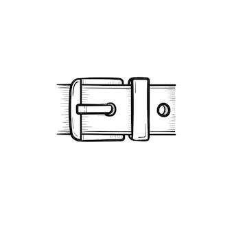 벡터 손으로 그린 벨트 버클 개요 낙서 아이콘입니다. 흰색 배경에 고립 된 인쇄, 웹, 모바일 및 infographics에 대 한 벨트 버클 스케치 그림.