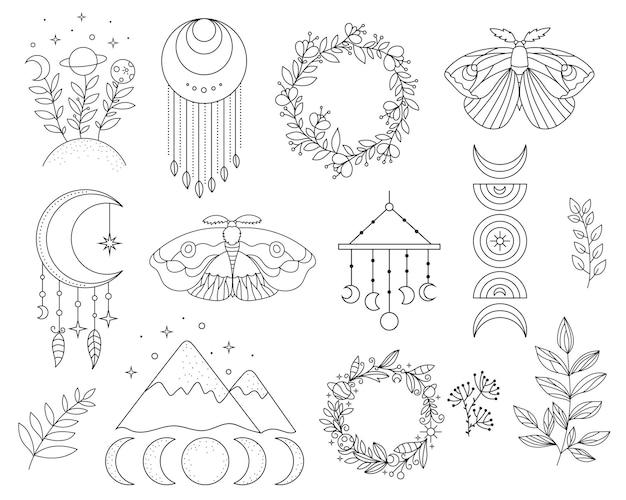 Vector hand drawn boho catcher for decoration mystery symbols