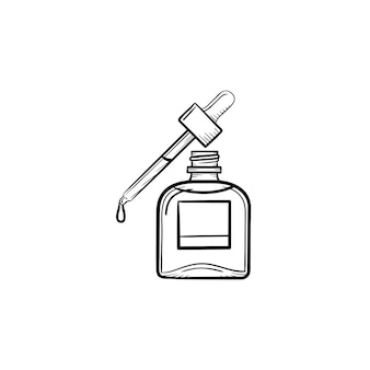 벡터 손으로 그린 에센셜 오일 병 및 피펫 개요 낙서 아이콘. 흰색 배경에 격리된 인쇄, 웹, 모바일 및 인포그래픽을 위한 에센셜 오일과 피펫 스케치 그림.