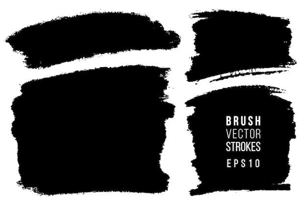 ベクターの手描きのブラシストロークセット。