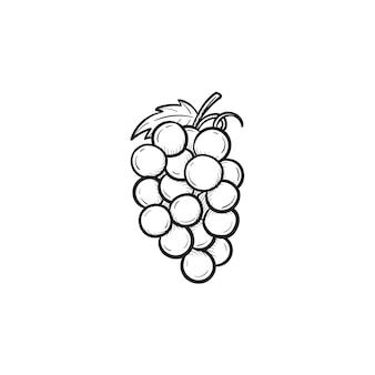 벡터 손으로 그린 포도 개요 낙서 아이콘의 무리. 인쇄, 웹, 모바일 및 흰색 배경에 고립 된 인포 그래픽에 대 한 포도 스케치 그림의 무리.