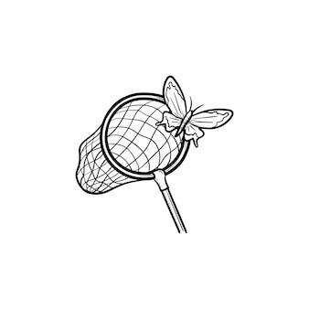 벡터 손으로 그린 나비 그물 개요 낙서 아이콘. 흰색 배경에 고립 된 인쇄, 웹, 모바일 및 infographics에 대 한 나비 그물 스케치 그림.