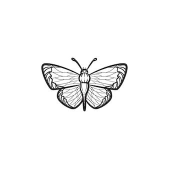 벡터 손으로 그린 나비 개요 낙서 아이콘입니다. 인쇄, 웹, 모바일 및 흰색 배경에 고립 된 infographics에 대 한 나비 스케치 그림.