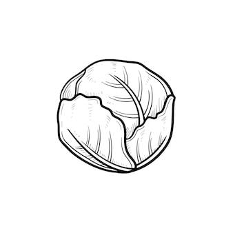 벡터 손으로 그린 양배추 개요 낙서 아이콘입니다. 흰색 배경에 고립 된 인쇄, 웹, 모바일 및 infographics에 대 한 야채 스케치 그림.