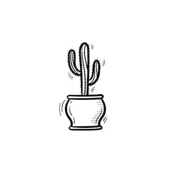 벡터 손으로 그린 선인장 개요 낙서 아이콘입니다. 흰색 배경에 고립 된 인쇄, 웹, 모바일 및 infographics에 대 한 장식 화분에 심은 집 식물 스케치 그림.