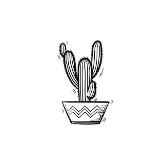 ベクトル手描きサボテンアウトライン落書きアイコン。白い背景で隔離の印刷、ウェブ、モバイル、インフォグラフィックの装飾的な鉢植えの観葉植物のスケッチイラスト。