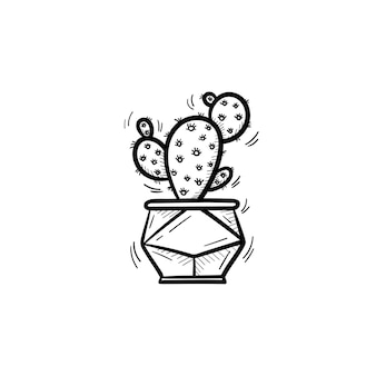 Vector hand drawn cactus outline doodle icon. decorative potted house plant sketch illustration for print, web, mobile and infographics isolated on white background.
