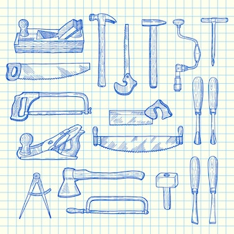 Vector hand drawn carpentry elements set on blue cell sheet
