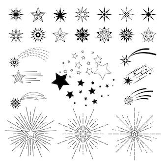 ベクトル手描きの漫画の星。落書きスケッチナイトスターセット