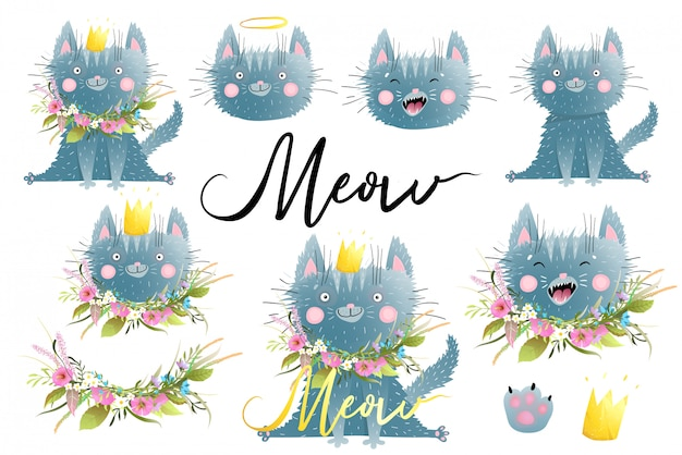 Vector hand drawn cat illustration made in watercolor style