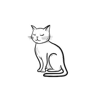 벡터 손으로 그린된 고양이 개요 낙서 아이콘입니다. 흰색 배경에 고립 된 인쇄, 웹, 모바일 및 infographics에 대 한 고양이 스케치 그림.