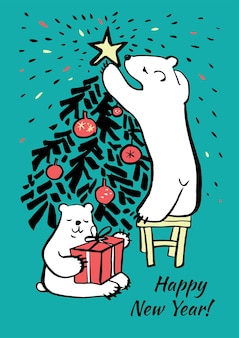 Vector hand drawn christmas card in sketch style. polar bears decorate the christmas tree and hold present box. happy new year lettering. black and white illustration. colorful illustration.