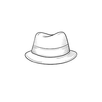 벡터 손으로 그린 클래식 모자 개요 낙서 아이콘입니다. 인쇄, 웹, 모바일 및 흰색 배경에 고립 된 infographics에 대 한 액세서리 스케치 그림.