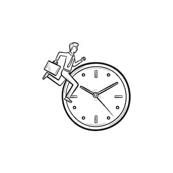 実行中の男のアウトライン落書きアイコンとベクトル手描き時計。印刷、ウェブ、モバイル、白い背景で隔離のインフォグラフィックのスケッチイラストを変更する時間の概念。