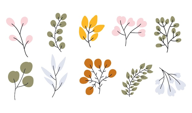Vector hand drawn collection of branches for nursery decoration and baby shower. perfect for birthday, children's party, summer holiday, clothing prints