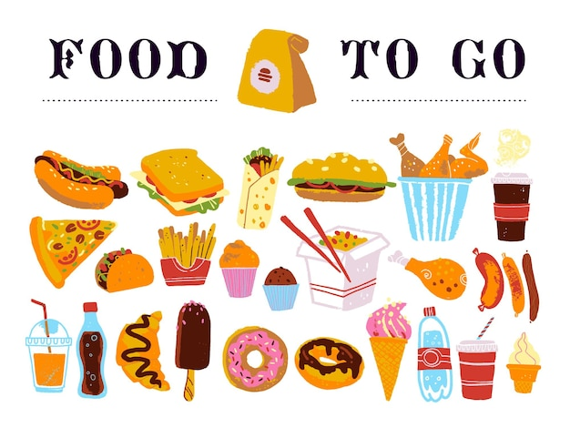 Vector hand drawn collection of fast food to go for menu packaging design chalkboard