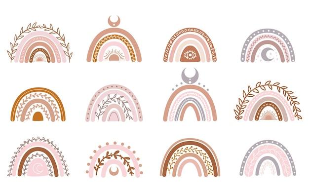 Векторная коллекция рисованной для украшения детской с милой радугой пастельных тонов