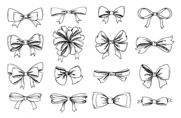 Vector hand drawn collection of lush bows