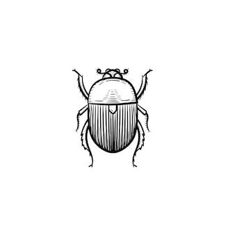 벡터 손으로 그린 콜로라도 감자 딱정벌레 개요 낙서 아이콘. 콜로라도 감자 딱정벌레는 흰색 배경에 격리된 인쇄, 웹, 모바일 및 인포그래픽을 위한 그림을 스케치합니다.