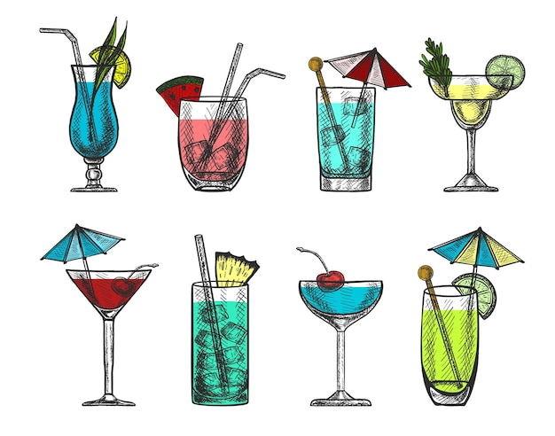 Vector hand drawn colorful cocktail collection.