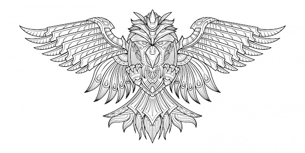 Vector hand drawn coloring book birds in my imagination.