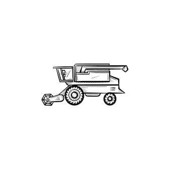벡터 손으로 그린 결합 수확기 개요 낙서 아이콘입니다. 흰색 배경에 격리된 인쇄, 웹, 모바일 및 인포그래픽에 대한 수확기 스케치 그림을 결합합니다.