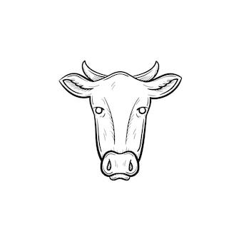 ベクトル手描き牛頭アウトライン落書きアイコン。白い背景で隔離の印刷物、ウェブ、モバイル、インフォグラフィックの牛の頭のスケッチイラスト。