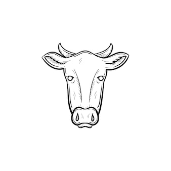 Vector hand drawn cow head outline doodle icon. cow head sketch illustration for print, web, mobile and infographics isolated on white background.
