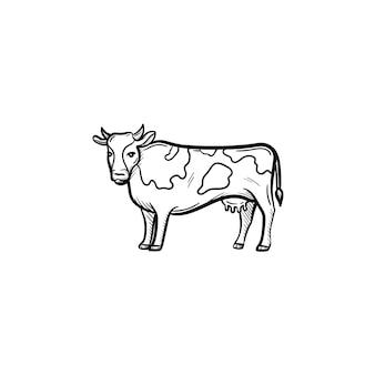 벡터 손으로 그린 암소 개요 낙서 아이콘. 흰색 배경에 고립 된 인쇄, 웹, 모바일 및 infographics에 대 한 암소 스케치 그림.