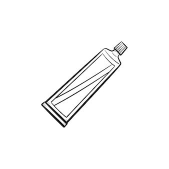 벡터 손으로 그린 크림 튜브 개요 낙서 아이콘입니다. 흰색 배경에 고립 된 인쇄, 웹, 모바일 및 infographics에 대 한 크림 튜브 스케치 그림.