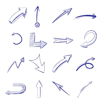 Vector hand drawn curved arrows