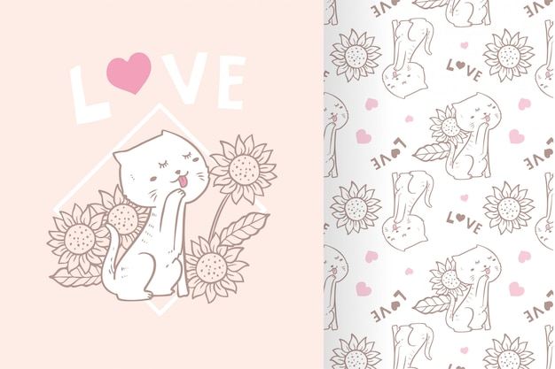 Vector hand drawn cute cat flower with pattern set