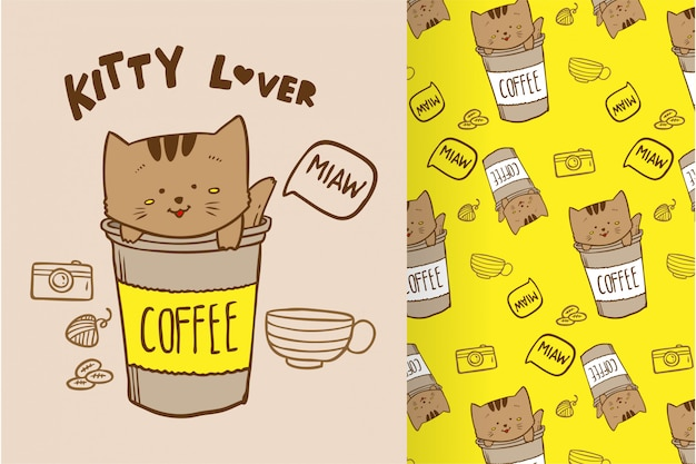 Vector hand drawn cute cat kitty coffee with pattern set