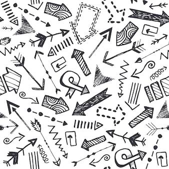 ベクトル手描き落書き矢印パターン。シームレス