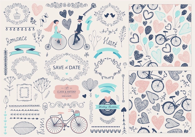 벡터 손으로 그린 낙서 사랑 컬렉션 그림 발렌타인 데이 대 한 설정 스케치 아이콘