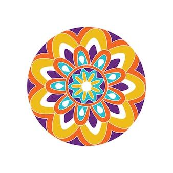 Vector hand drawn doodle mandala ethnic mandala with colorful tribal ornament