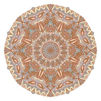 ベクトル手描き落書き曼荼羅。落書きグラフィック飾りと民族のメダリオン。