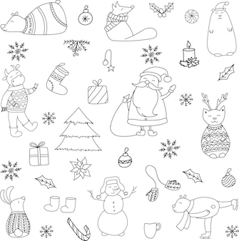 Vector hand drawn doodle new year set with forest animals and bull black silhouette