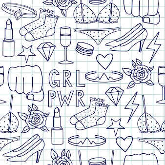Vector hand drawn drawing doodle seamless pattern with the inscription grl pwr