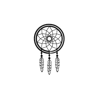 Vector hand drawn dreamcatcher outline doodle icon. dreamcatcher sketch illustration for print, web, mobile and infographics isolated on white background.