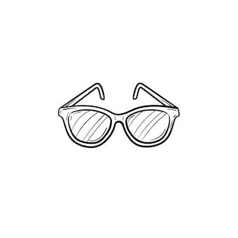 벡터 손으로 그린된 안경 개요 낙서 아이콘입니다. 안경은 인쇄, 웹, 모바일 및 흰색 배경에 격리된 인포그래픽에 대한 그림을 스케치합니다.