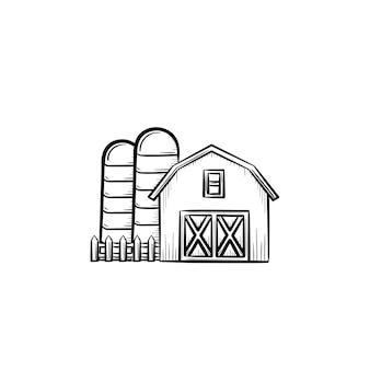 ベクトル手描きファーム小屋アウトライン落書きアイコン。白い背景で隔離の印刷物、ウェブ、モバイル、インフォグラフィックの農場小屋スケッチイラスト。