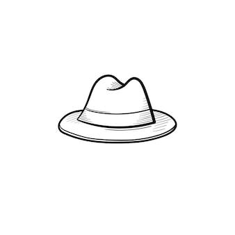 벡터 손으로 그린 페도라 모자 개요 낙서 아이콘입니다. 흰색 배경에 고립 된 인쇄, 웹, 모바일 및 infographics에 대 한 trilby 스케치 그림.