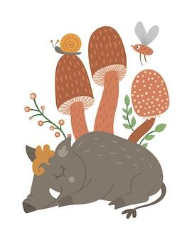 벡터 손은 버섯과 곤충이 있는 평평한 잠자는 멧돼지를 그렸습니다. 재미 있는 삼림 동물 카드 템플릿입니다. 어린이 디자인, 인쇄, 문구류를 위한 귀여운 숲 돼지 그림