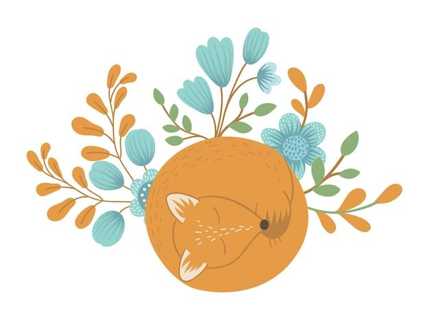 벡터 손으로 그린 평평한 잠자는 여우와 꽃과 나뭇잎이 있는 재미있는 장면