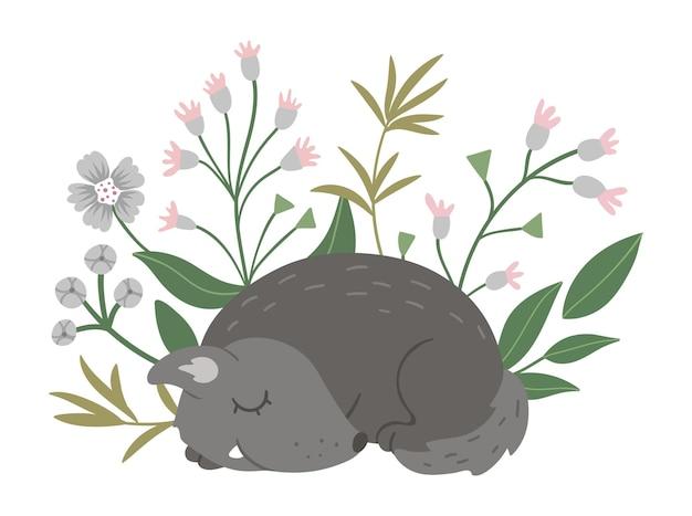 벡터 손으로 그린 납작한 잠자는 늑대와 꽃이 있고 삼림 동물과 함께 재미있는 장면을 남깁니다.