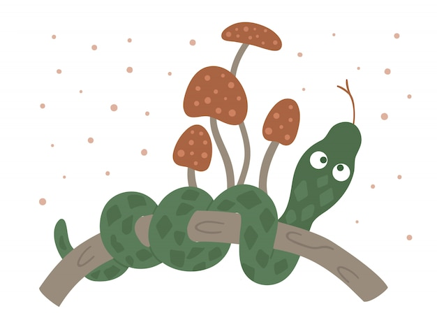 Vector hand drawn flat snake on a tree brunch. funny woodland animal. cute forest serpent illustration for print, stationery
