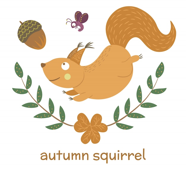 Vector hand drawn flat squirrel running for acorn. funny autumn scene with woodland animal, insect, leaves. cute forest animalistic illustration for print, stationery