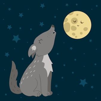 벡터 손으로 달에 짖는 플랫 늑대를 그려. 숲 동물과 함께 재미있는 밤 장면. 인쇄, 편지지에 대한 귀여운 숲 동물 그림