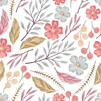 Vector hand drawn floral seamless pattern with textured flower. Wild flowers illustration